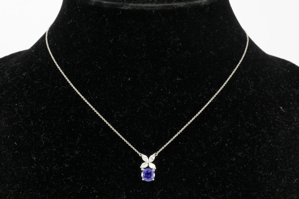 Tiffany co victoria collection platinum tanzanite diamond tiffany co victoria collection platinum tanzanite diamond pendant necklace mozeypictures Choice Image