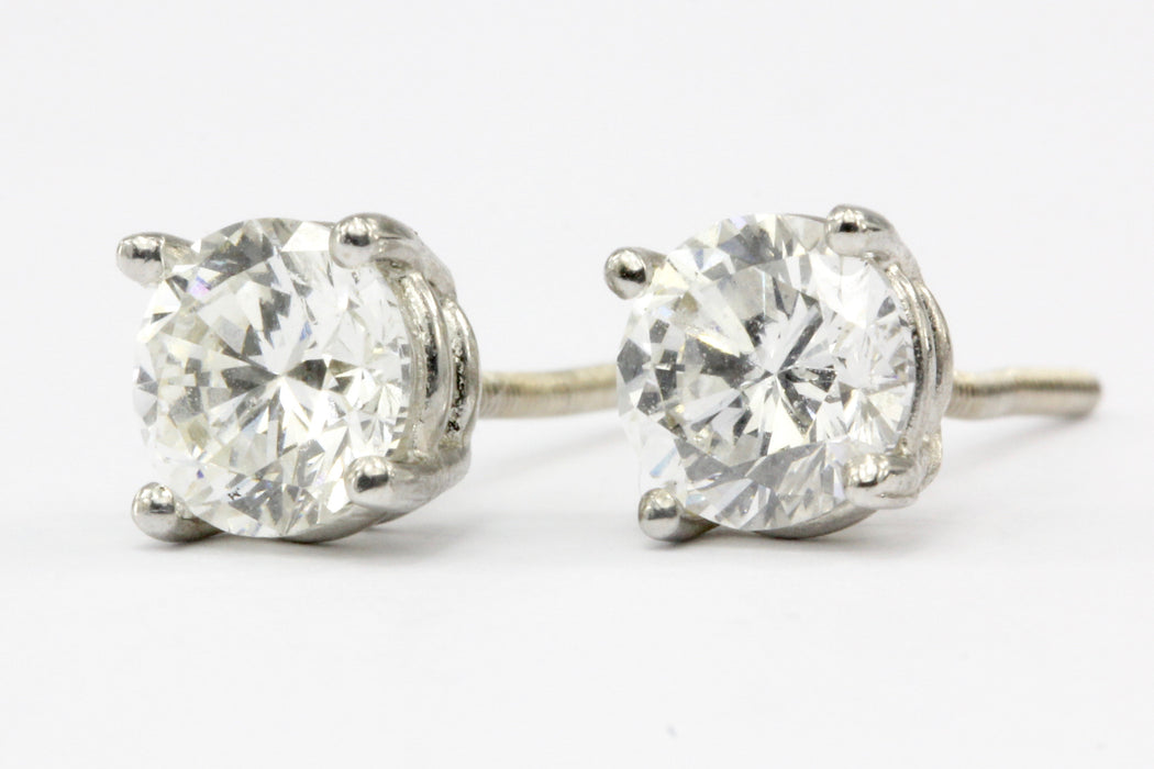 14K White Gold 1 CTW Diamond Four Prong Screw Back Stud Earrings
