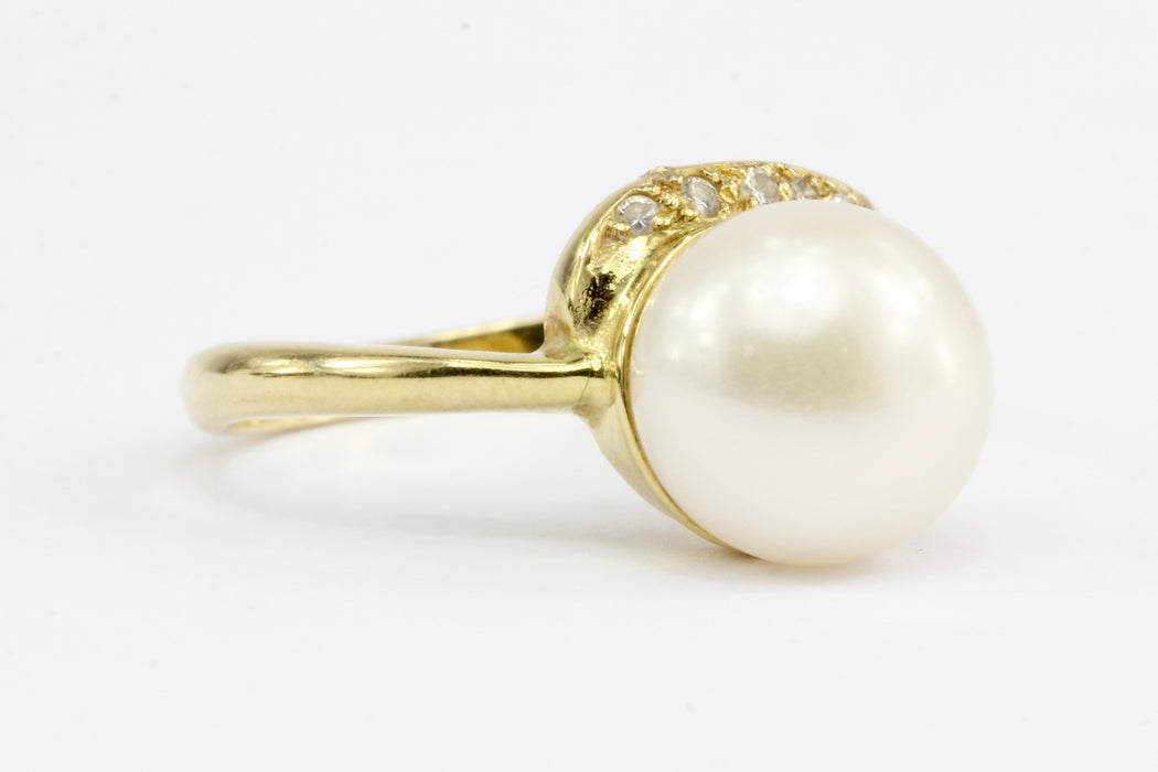 18K Yellow Gold 10mm Pearl and Diamond Ring Size 7