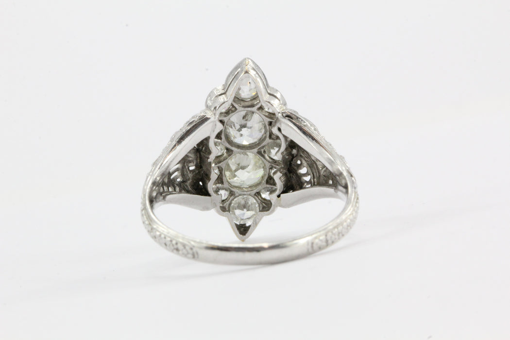 Antique Art Deco 18K White Gold 1.5 CTW Old Mine Cut Diamond Engagement Ring - Queen May