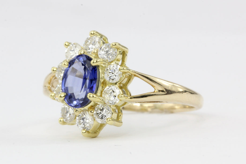 14K & 18K Natural Sapphire 1 Carat Diamond Ring - Queen May