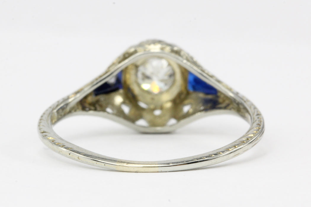Art Deco 18K White Gold .23 CT Diamond and .20 CTW Synthetic Sapphire and Spinel Engagement Ring - Queen May