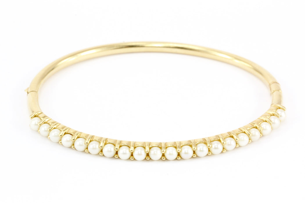 14K Yellow Gold 3.2mm Pearl Bangle Bracelet