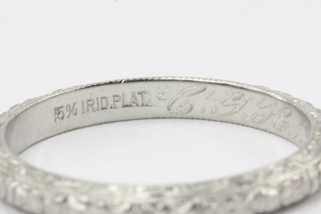 Art Deco Platinum Wedding Band October 27, 1921 CGH to LEB - Queen May