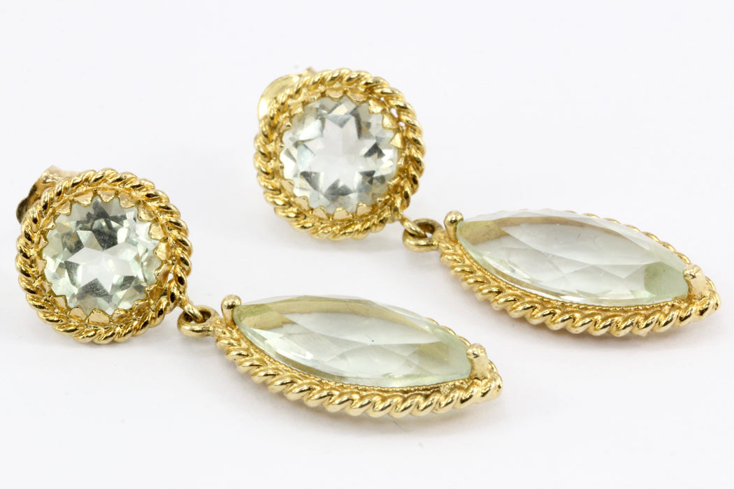14K Yellow Gold Round & Marquise Aquamarine Drop Earrings - Queen May