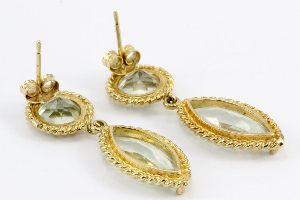 14K Yellow Gold Round & Marquise Aquamarine Drop Earrings