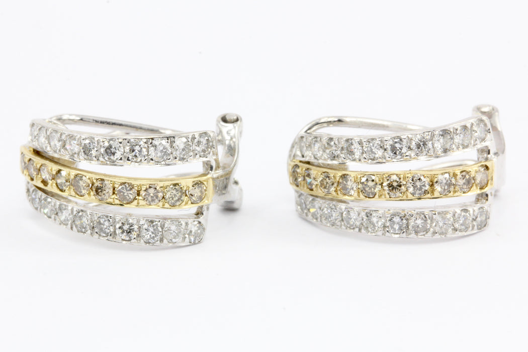 14K White Gold White and Champagne Diamond Huggie Hoop Earrings