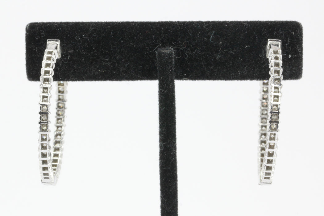 14K White Gold In and Out Diamond 35mm Hoop Earrings