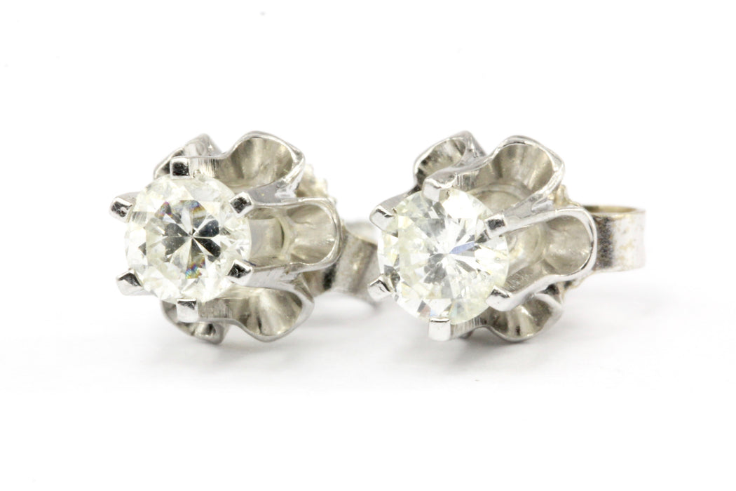 14K White Gold .30 CTW Diamond Six Prong Belcher Set Stud Earrings - Queen May