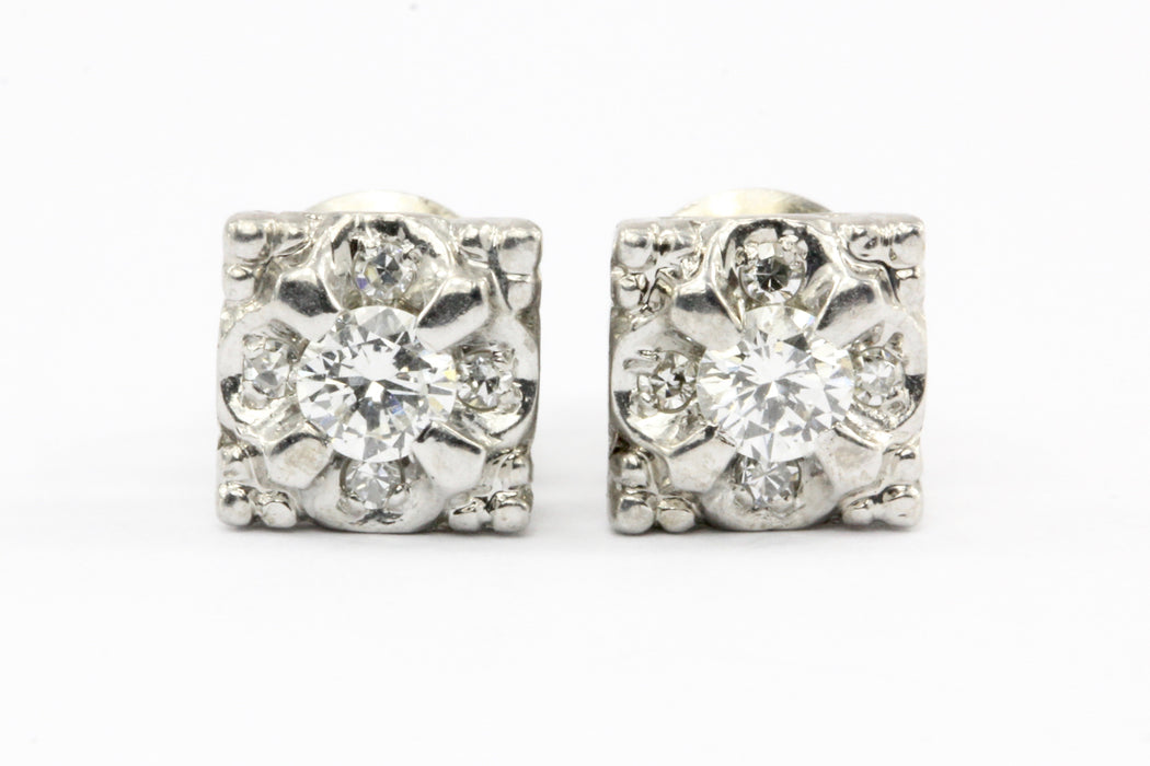 14K White Gold .20 CTW Diamond Cluster Screw Back Earrings - Queen May