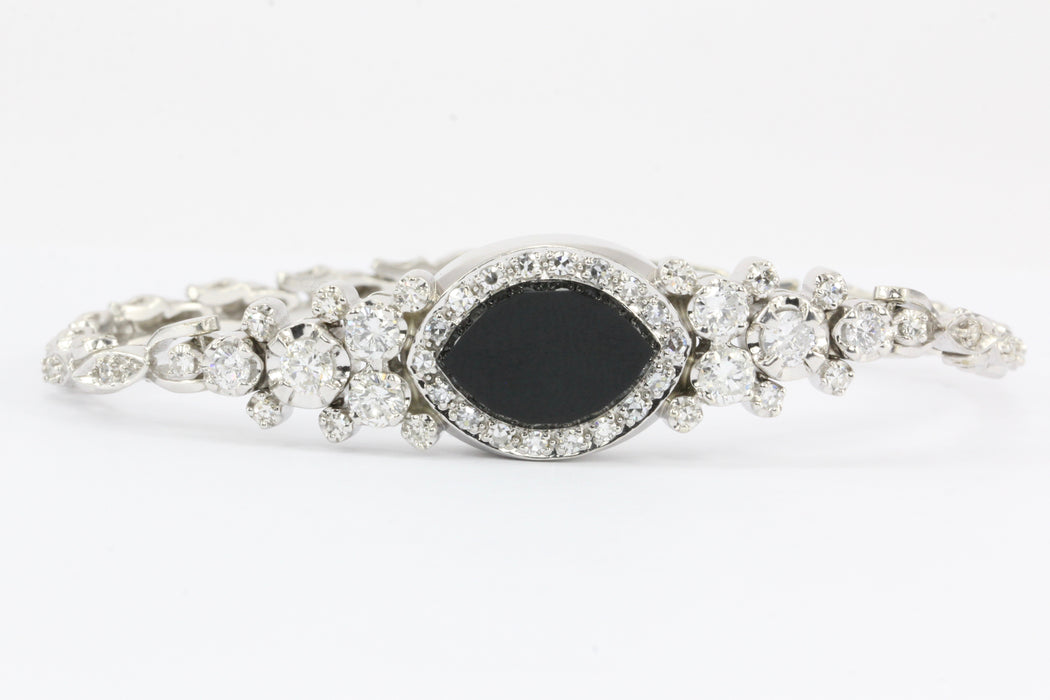 14K White Gold Diamond and Onyx Watch Conversion Bracelet - Queen May