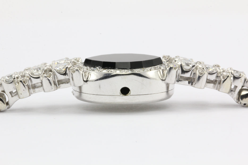 14K White Gold Diamond and Onyx Watch Conversion Bracelet