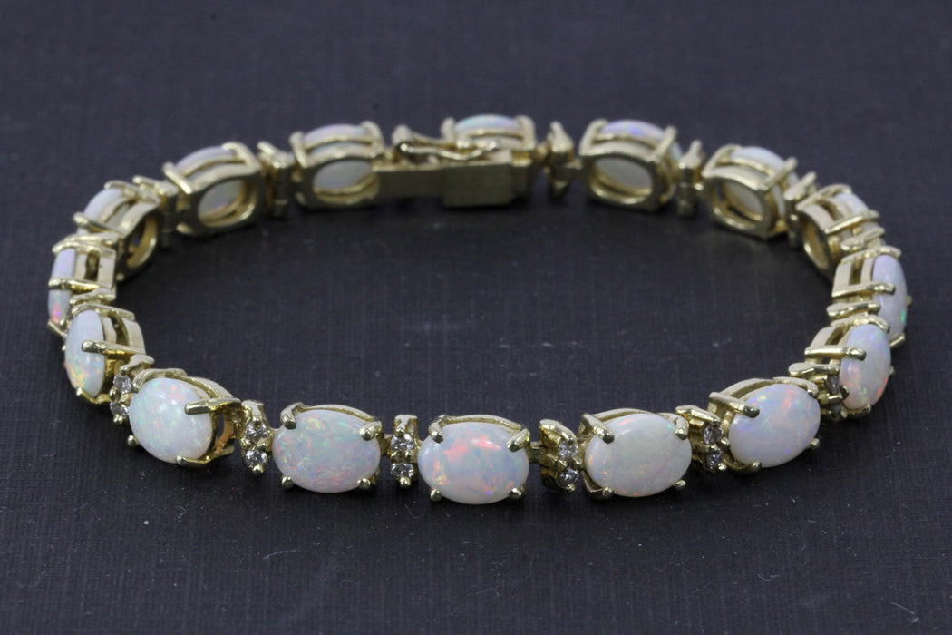 14K Yellow Gold 12 CTW Opal and Diamond Bracelet