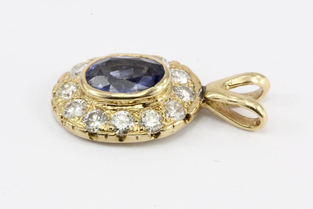 14K Yellow Gold 1 CT Sapphire and Diamond Pendant