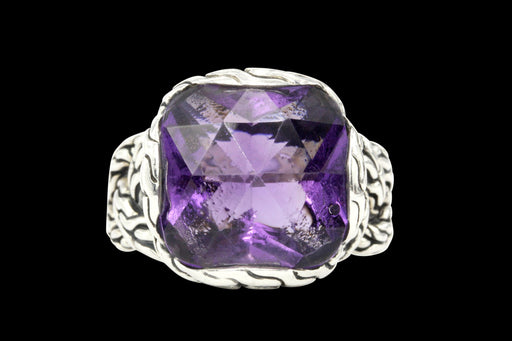 John Hardy Amethyst Classic Chain Braided Sterling Silver Ring - Queen May