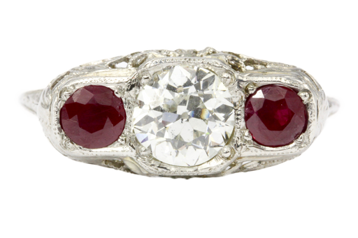 Art Deco 14K White Gold Old European Cut Diamond Ruby Ring c.1920's