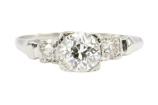 Retro Platinum Old European Cut Diamond Engagement Ring c.1930's