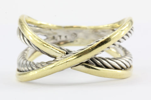 David Yurman Cable Crossover 18K Gold & Sterling Silver Ring Band