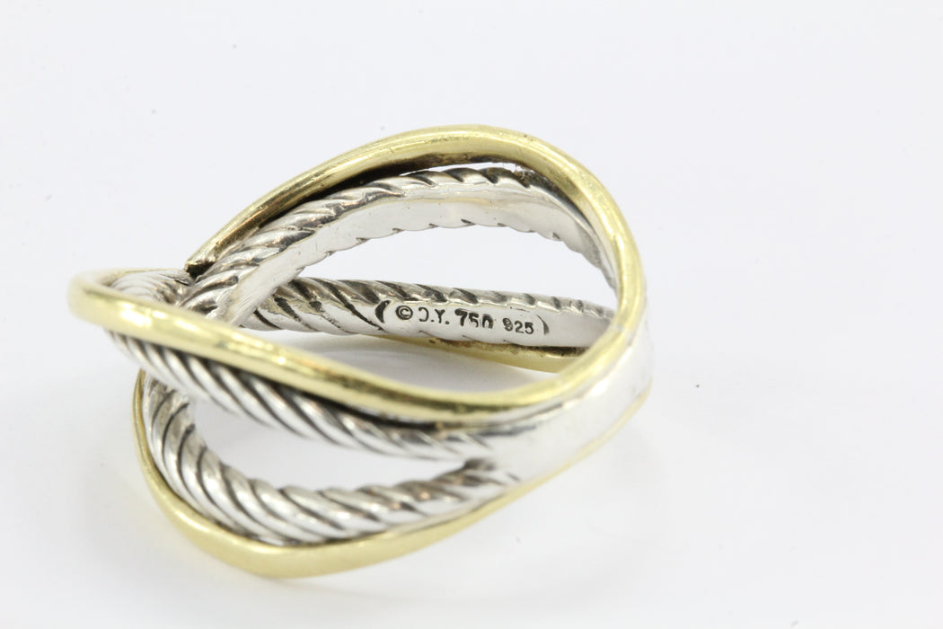 David Yurman Cable Crossover 18K Gold & Sterling Silver Ring Band - Queen May