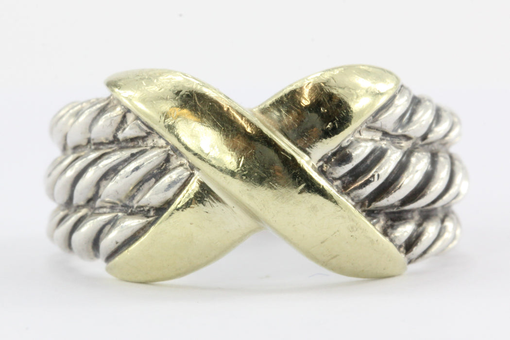 David Yurman Sterling Silver 14K Cable 3 Row Ring Size 6.25 - Queen May