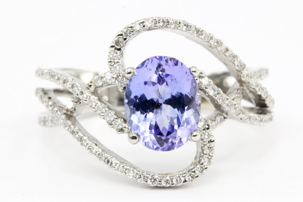 18k White Gold 2.01 Carat Tanzanite Diamond Ring w/ Papers Size 8.75 - Queen May