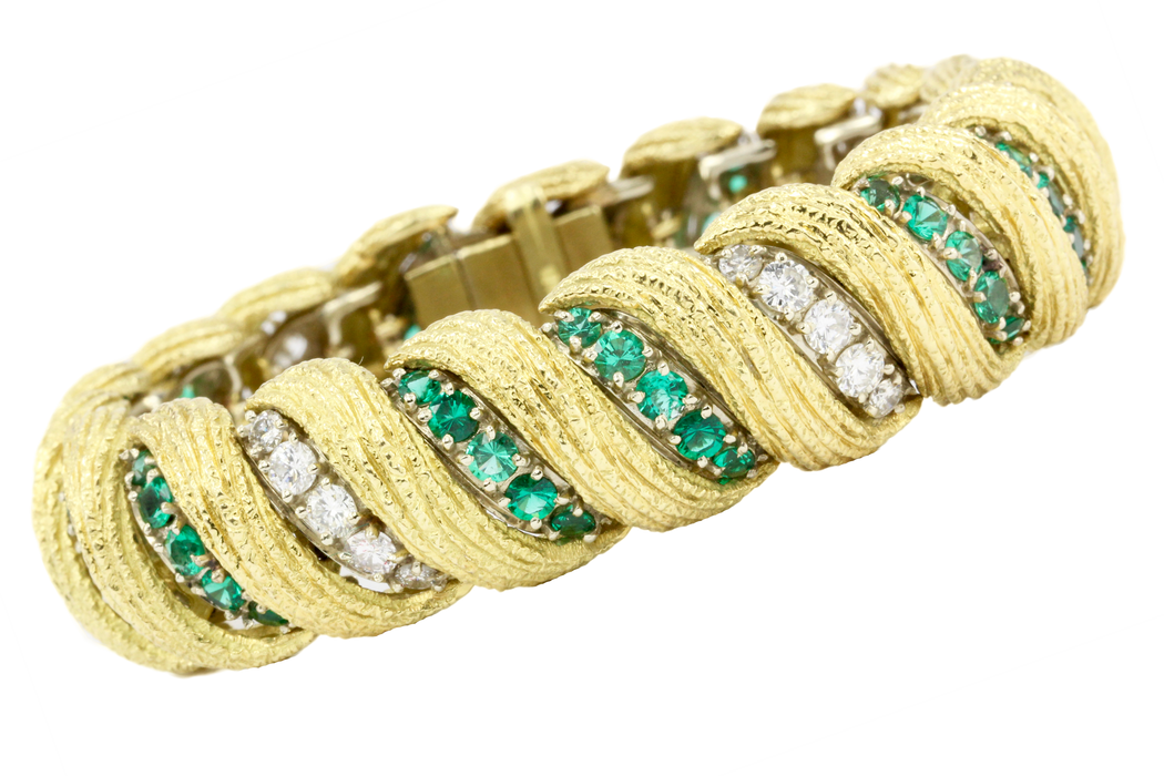 Hammerman Bros 18K Gold Diamond Emerald Barber Pole Tennis Bracelet - Queen May