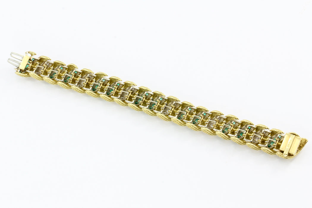 Hammerman Bros 18K Gold Diamond Emerald Barber Pole Tennis Bracelet