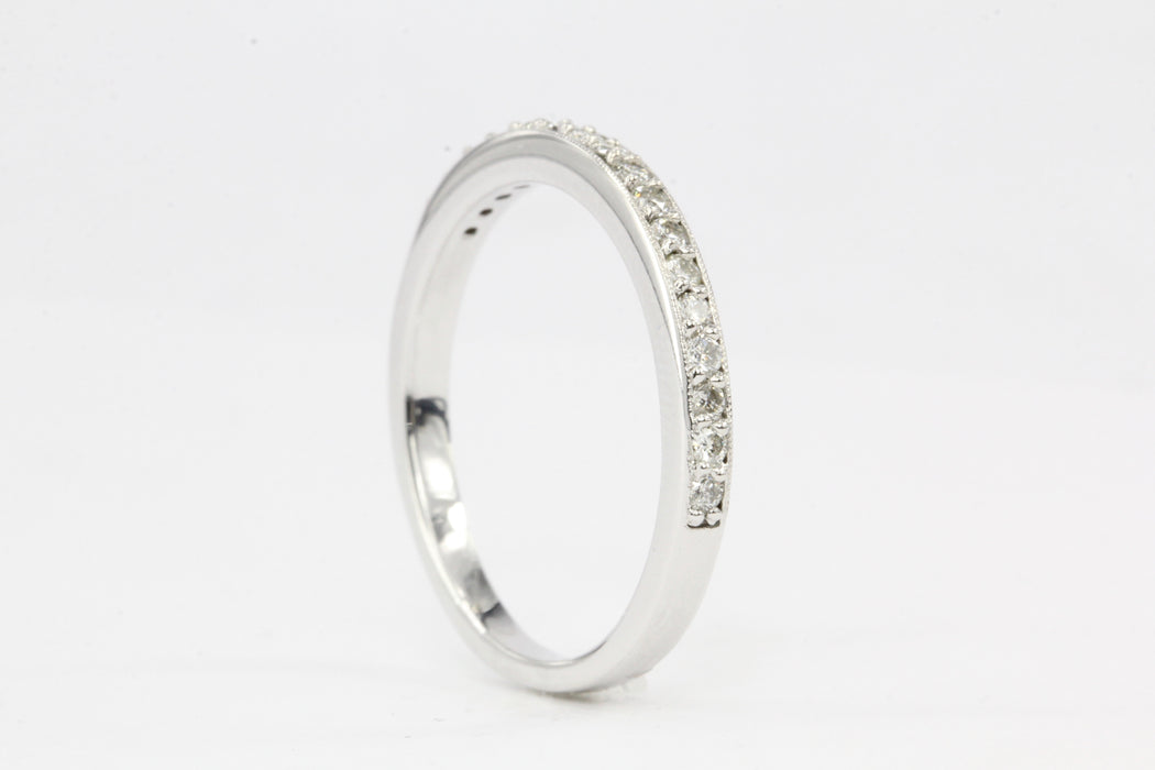 14K White Gold .20 Carat Diamond Half Band Size 8 - Queen May