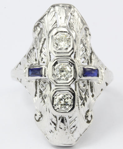 Art Deco 3 Stone Old European Diamond Sapphire Engagement Ring c.1920