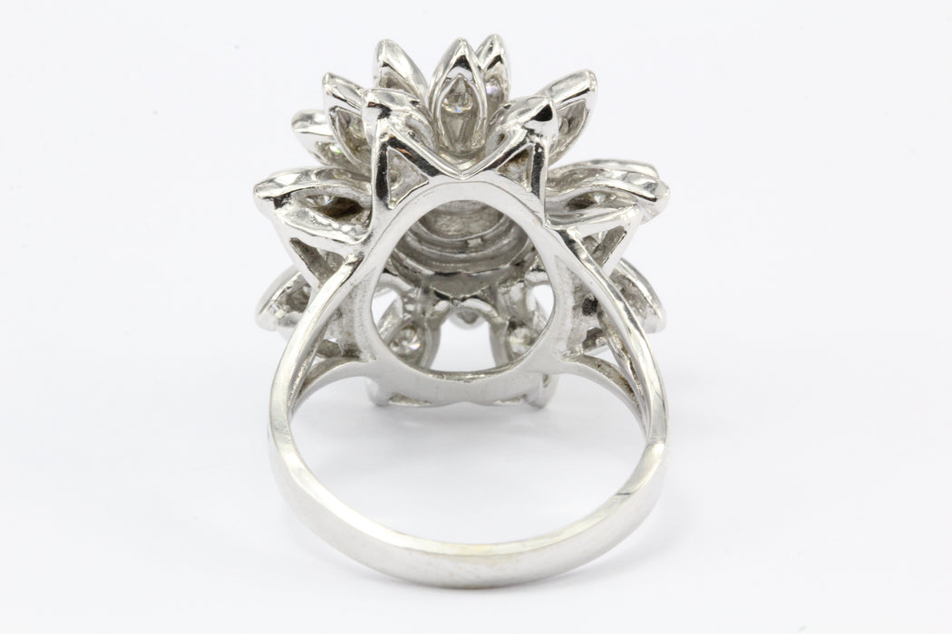 Retro 14K White Gold Diamond Floral Star Burst Ring c.1950's - Queen May