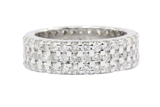 14K White Gold 3 Row 3 CTW Diamond Full Eternity Band Ring Size 6.5