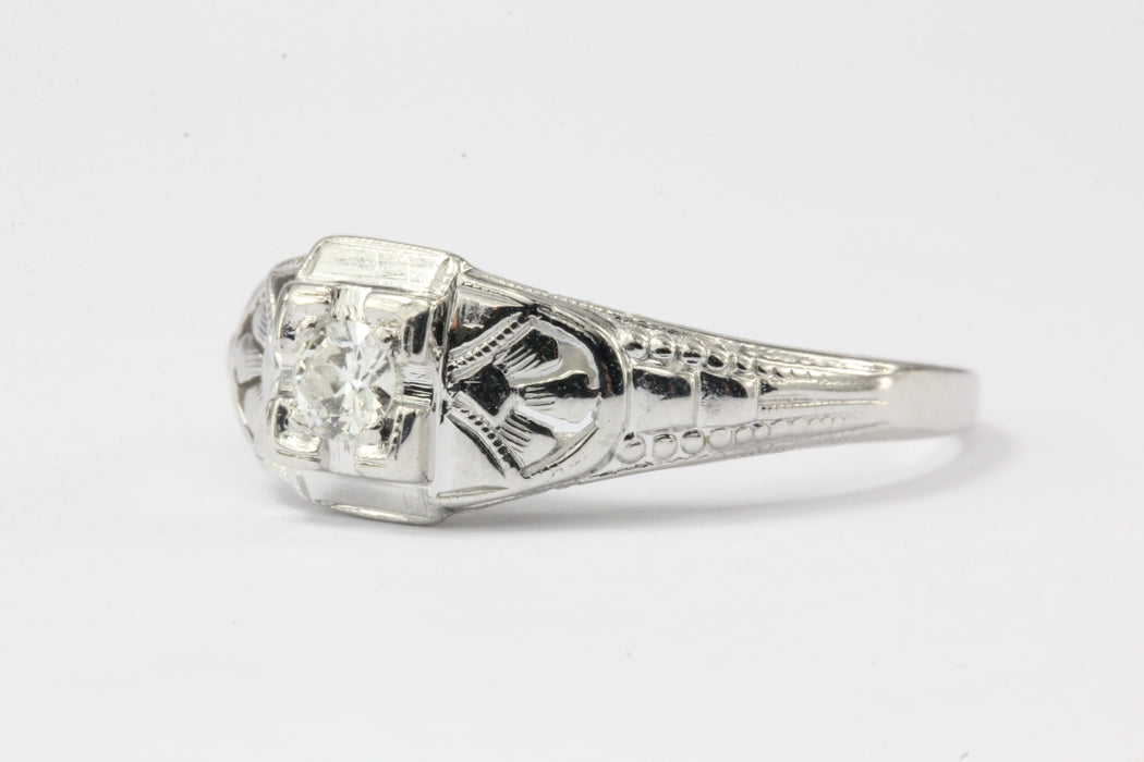 Art Deco 18k White Gold Old European Cut Diamond Engagement Ring c. 1920 - Queen May