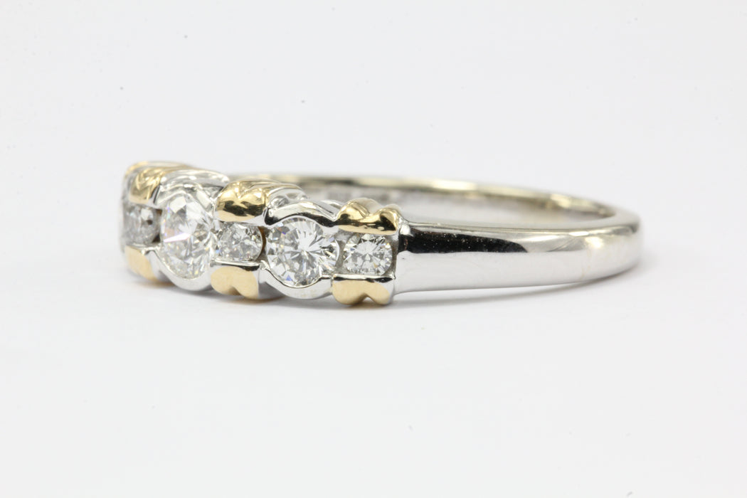 14K White & Yellow Gold Inset Diamond Band Ring - Queen May