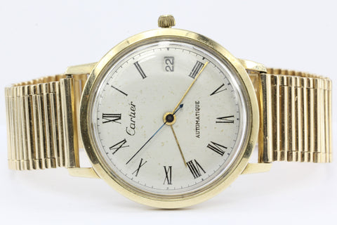 Mathey-Tissot for Cartier Automatique 14K Gold Calendar Mens Watch c.1960's