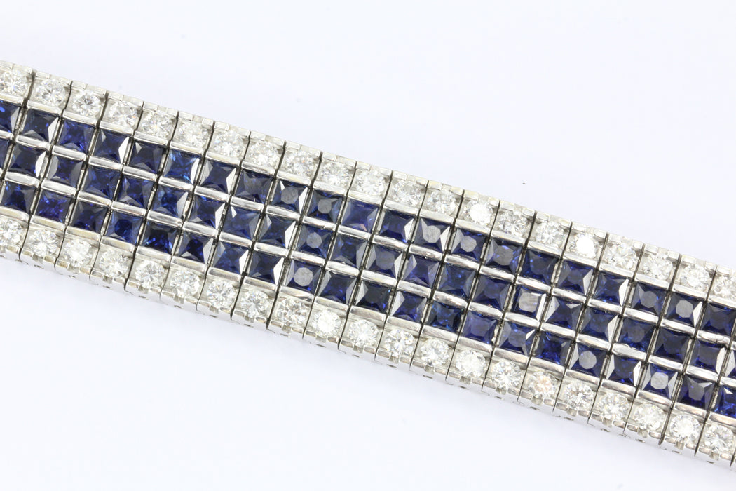 18K White Gold Diamond & Blue Sapphire Wide Tennis Bracelet 30 CTW