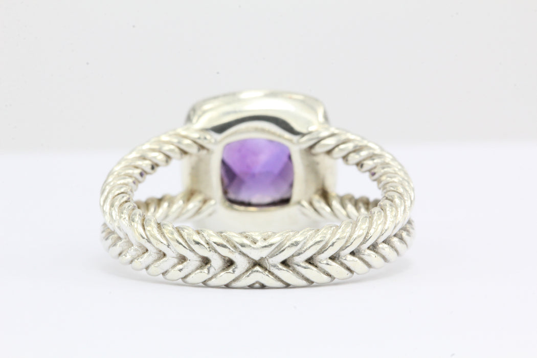 David Yurman Sterling Silver Diamond & Amethyst Petite Albion Ring - Queen May