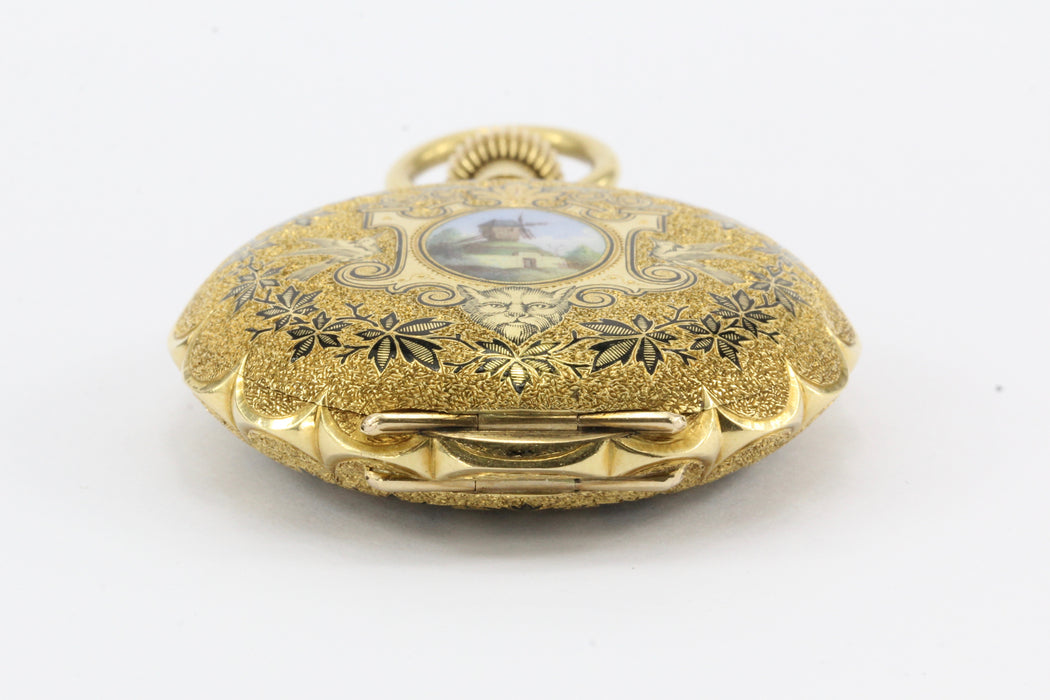 18K Gold Enamel 1883 pocket Watch by Western Watch Case Rockford Movement