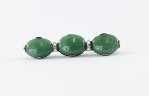 Antique Art Deco Silver Green Aventurine 3 Stone Bar Pin / Brooch