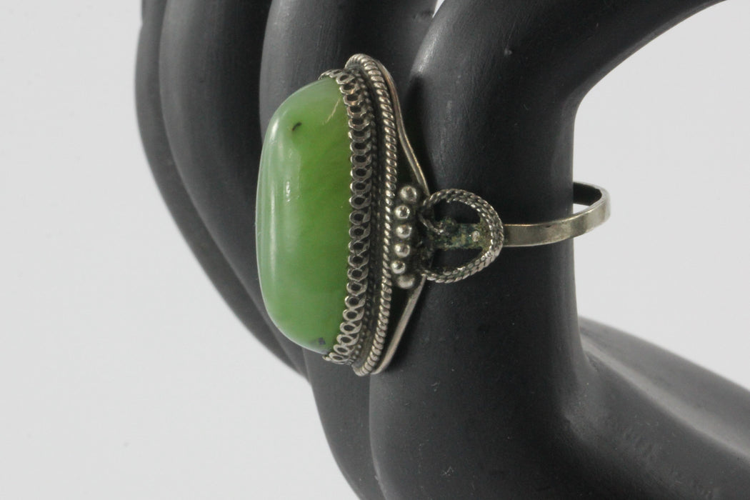 Vintage Arab Silver & Green Serpentine Middle Eastern Chunky Ring - Queen May