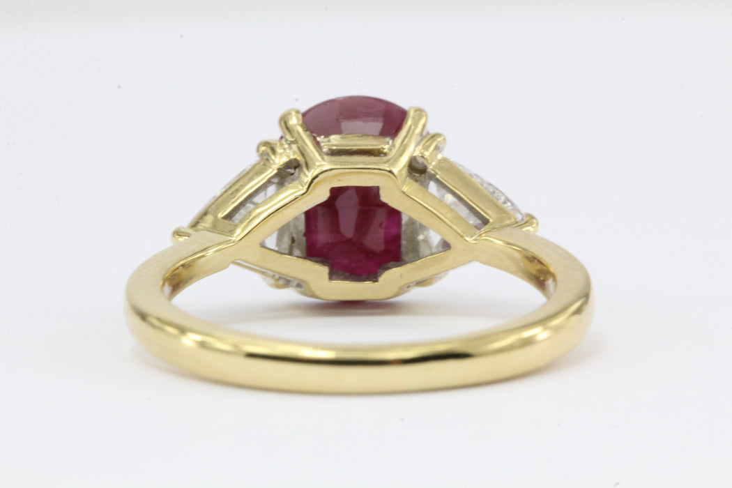 2.75 Carat Burma Ruby & Trillion Cut Diamond 18K Gold Engagement Ring GIA Cert - Queen May