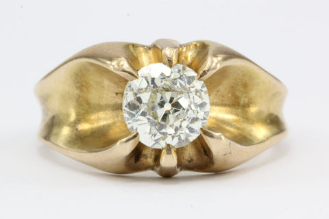 Victorian 1.53 Carat Old European Diamond in 10K Gold Belcher Mounted Ring