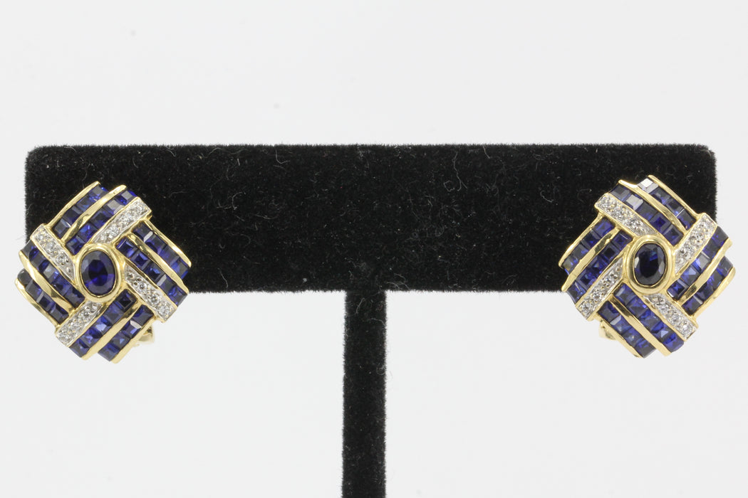 18K Yellow Gold Natural Sapphire and Diamond Earrings