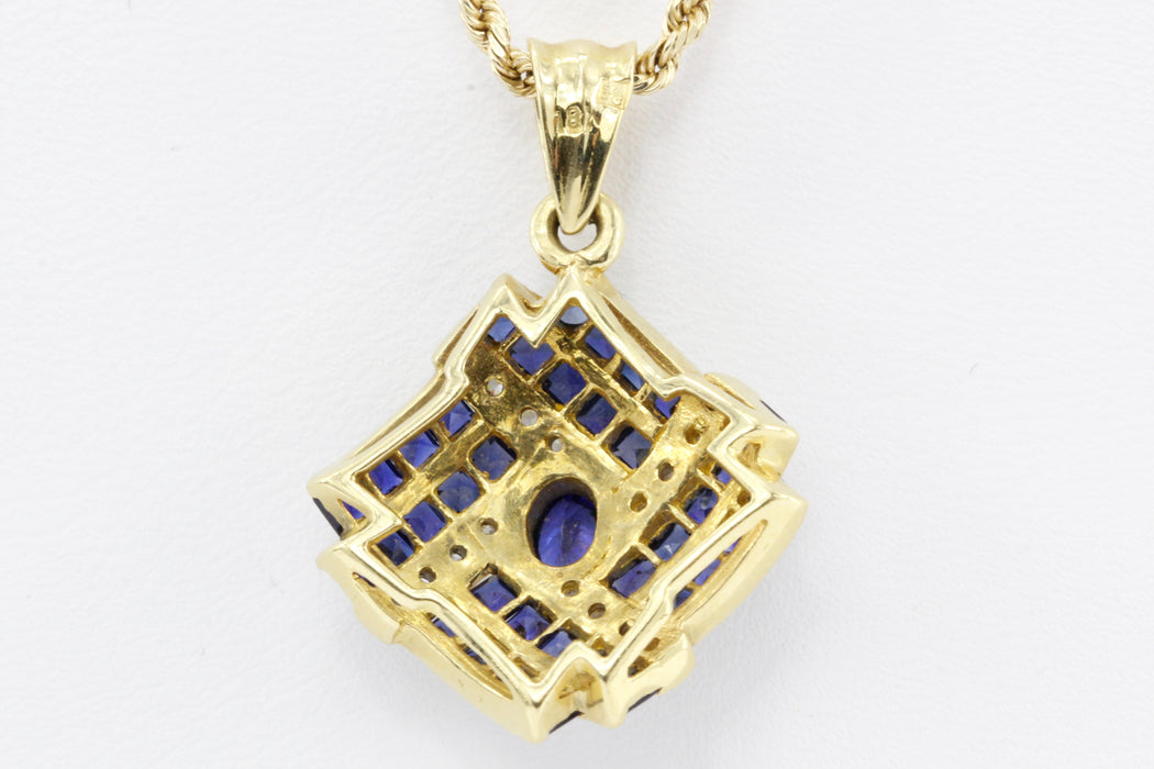 18K Yellow Gold Natural Sapphire and Diamond Pendant