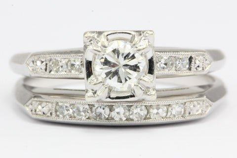 Retro 18k White Gold Diamond Engagement Ring w/ Wedding Band by Acme Ring Co
