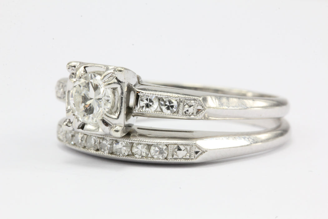 Retro 18k White Gold Diamond Engagement Ring w/ Wedding Band by Acme Ring Co - Queen May