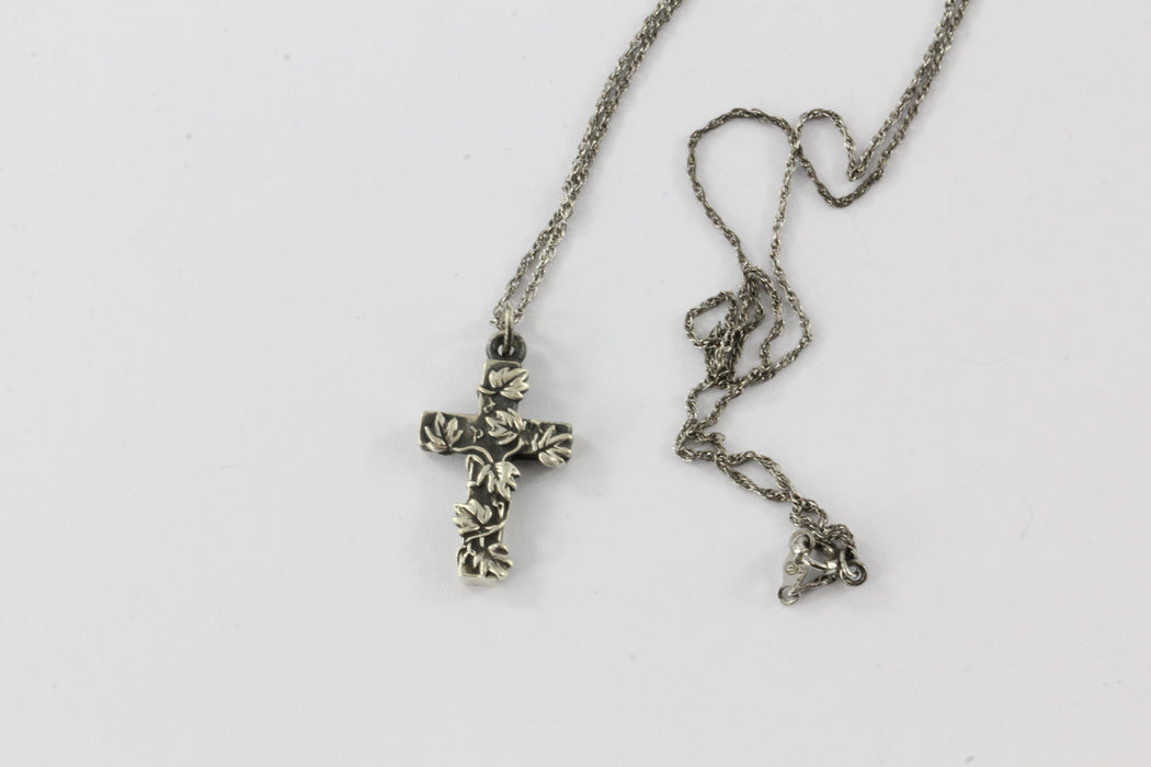 Antique Art Nouveau Silver Cross & Chain #1 - Queen May