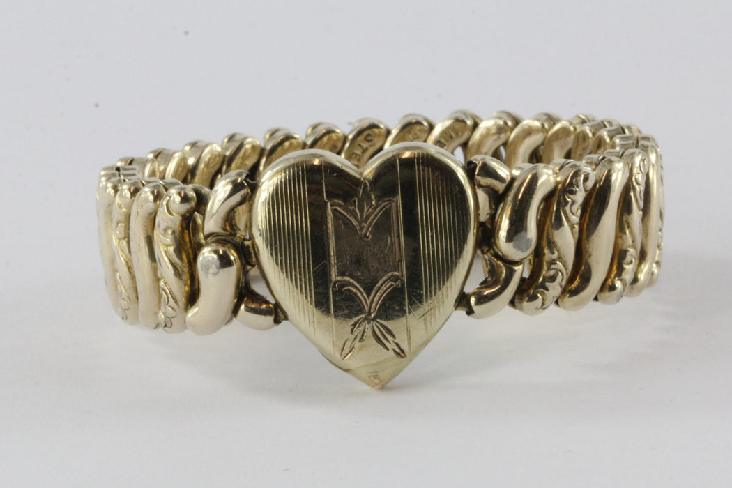 American Queen Pitman & Keeler Sterling Silver & Gold Filled Sweet Heart Adjustable Bracelet