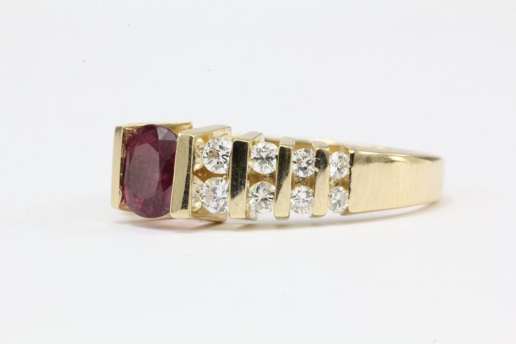 14K Gold .50 Carat Ruby & Diamond Ring - Queen May