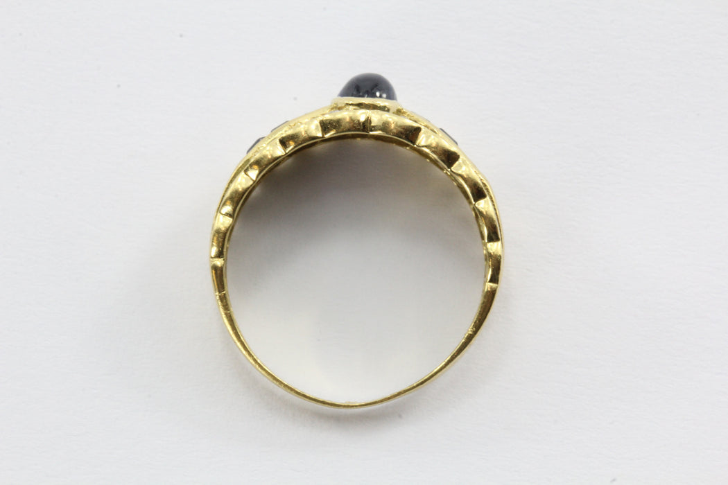 Vintage 18K Gold Sapphire & Diamond Ring Band - Queen May