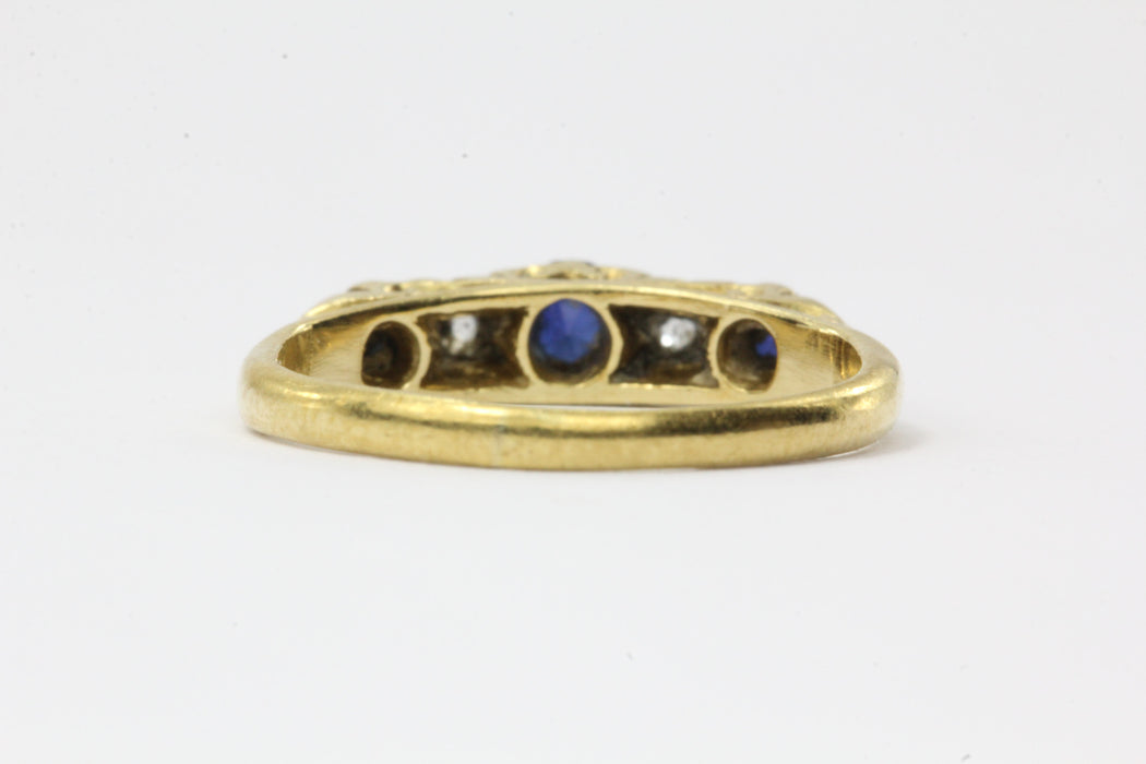 Antique English 18K Gold Diamond & Sapphire Ring - Queen May